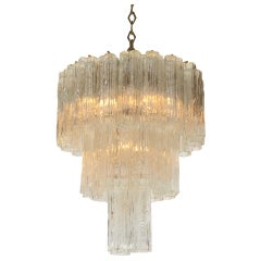 Three-Tiered Tronchi Tube Murano Glass Chandelier by Camer