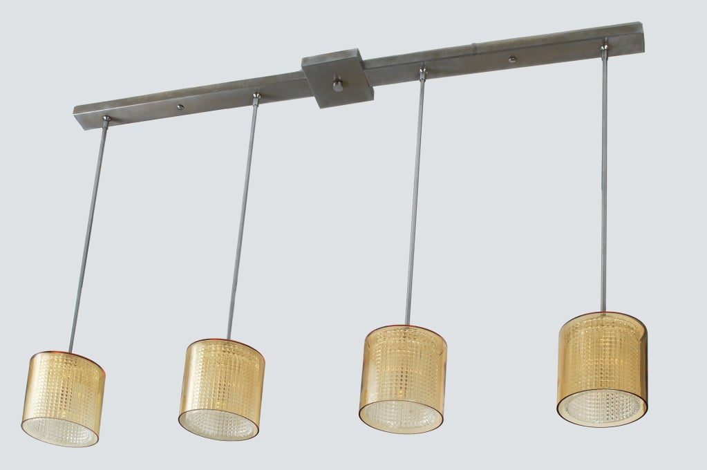 Long four pendant amber glass ceiling fixture by orrefors for Long ceiling light fixture