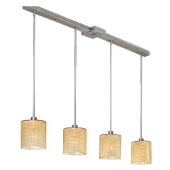 Long Four Pendant Amber Glass Ceiling Fixture by Orrefors