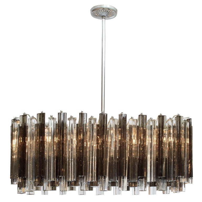 Race Track Form Smoke And Clear Glass Prism Chandelier By Venini At