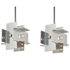 Pair of Aluminum Planed Pendants by Paul Mayen for Habitat
