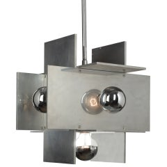 Large Aluminum Planed Chandelier by Paul Mayen for Habitat