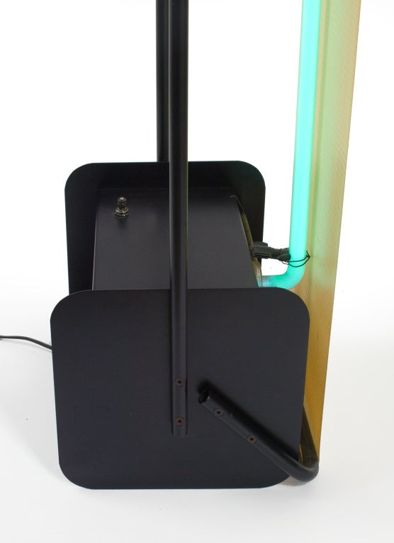 Post Modern Neon Light Sculpture Torchiere after Rudi Stern For Sale 3