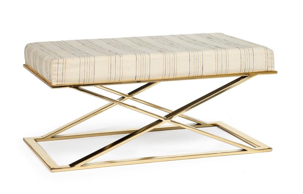 Brass X Frame Bench by Milo Baughman for Thayer Coggin 2