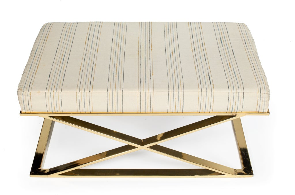 Brass X Frame Bench by Milo Baughman for Thayer Coggin 3