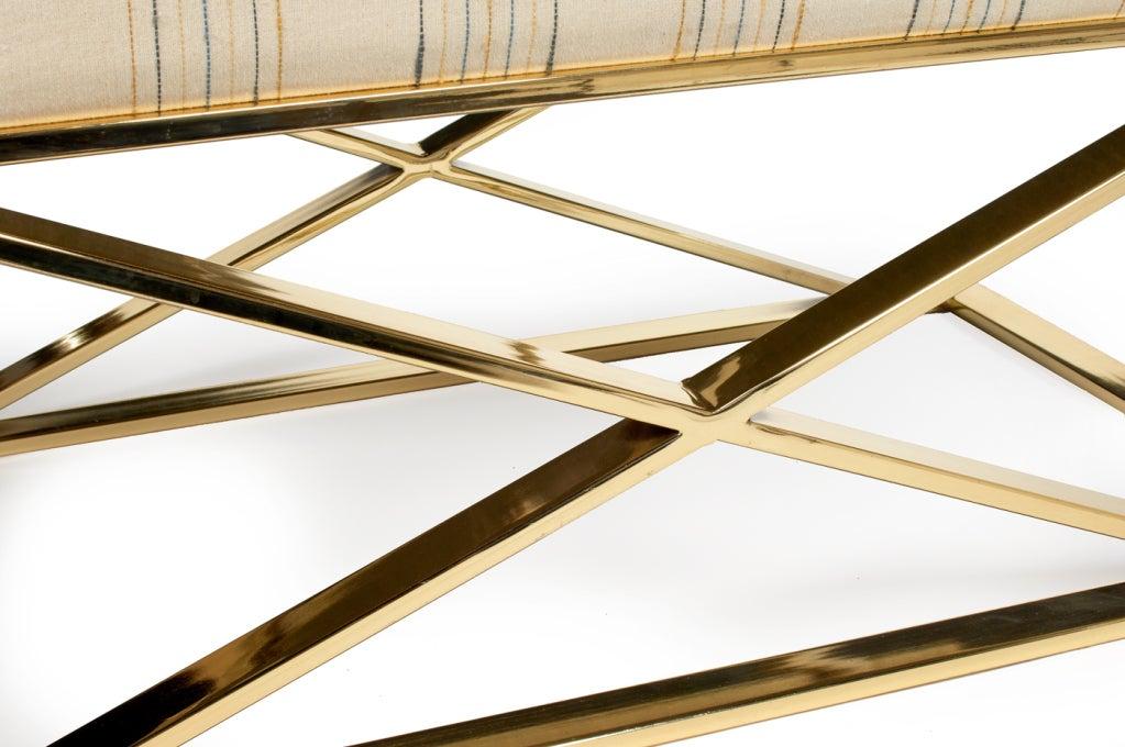 Brass X Frame Bench by Milo Baughman for Thayer Coggin 4