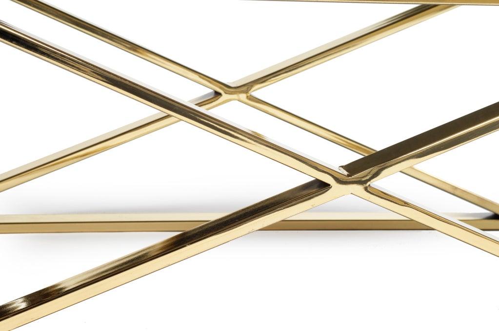 Brass X Frame Bench by Milo Baughman for Thayer Coggin 5