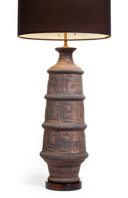 Abstract Low Relief Ceramic Table Lamp By Bitossi For Sale At 1stdibs