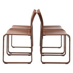 Set of Four Leather Wrapped Game Chairs by Matteograssi