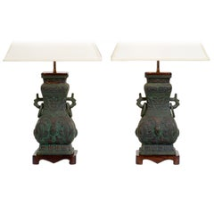 Pair of Cast Bronze Chinoiserie Table Lamps