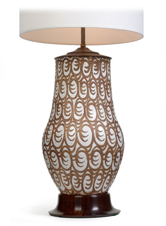 African Primitive Motif Ceramic Table Lamp By Zaccagnini 2