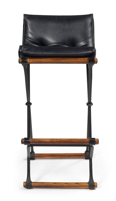 Set Of 5 Campaign Bar Stools By Cleo Baldon For Terra
