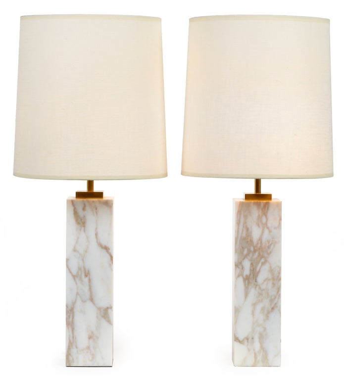 Superior Pair Of Square Column Marble Table Lamps By Robsjohn Gibbings 2