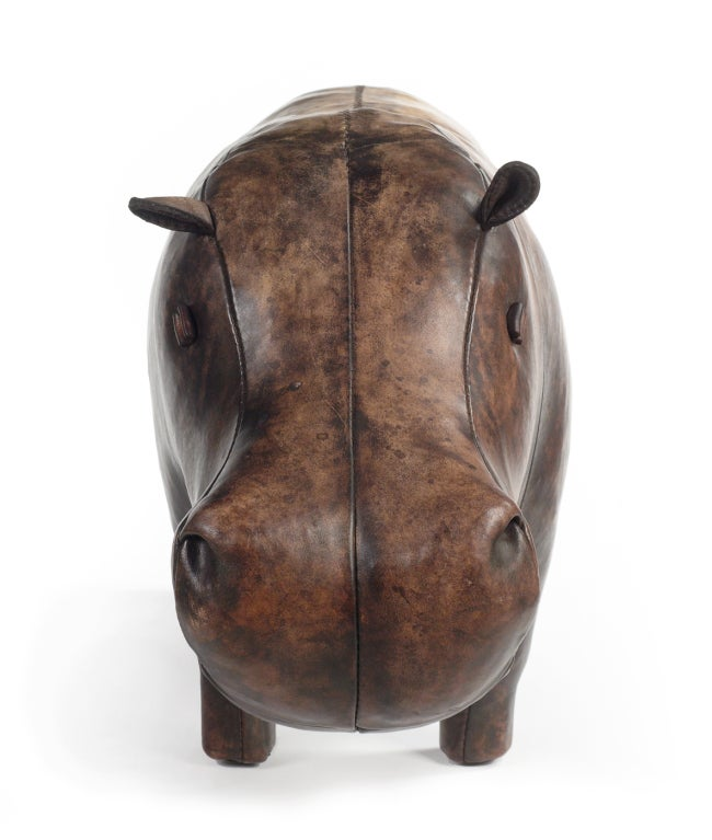 stuffed leather hippo by omersa at 1stdibs