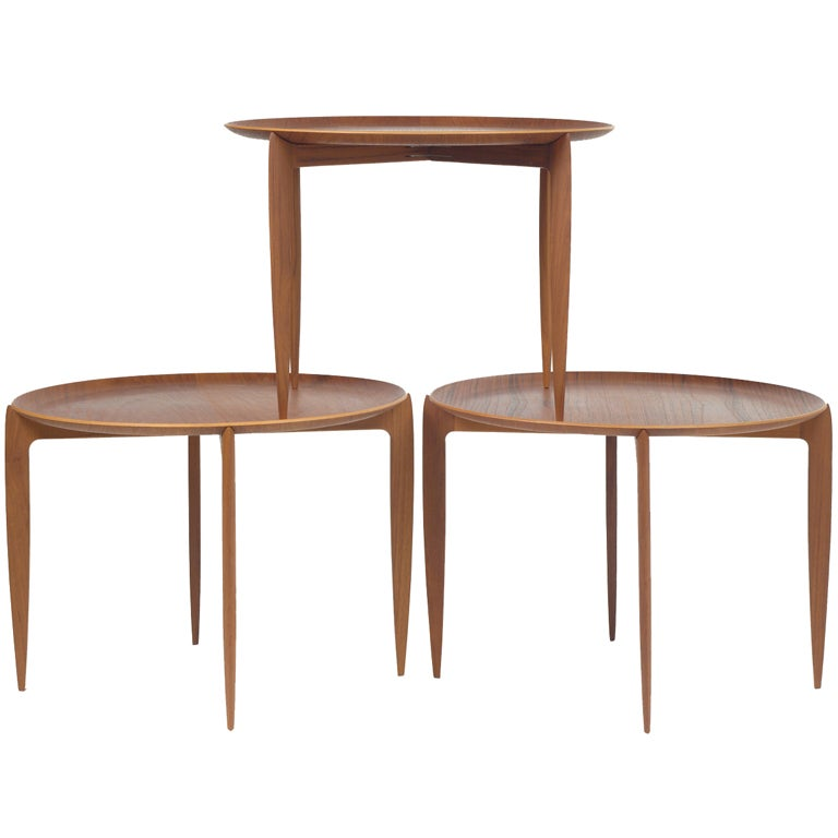Set of fold away tray top side tables from fritz hansen for sale at 1stdibs - Fold away table ...