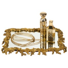 19th Century Gilt Bronze Frame Mirrored Vanity Tray