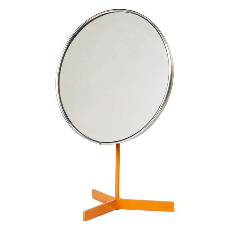 Orange Lacquered Pedestal Vanity Mirror by Durlston Designs Ltd