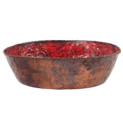 Enameled Torch Cut and Hammered Copper Bowl by Fantoni