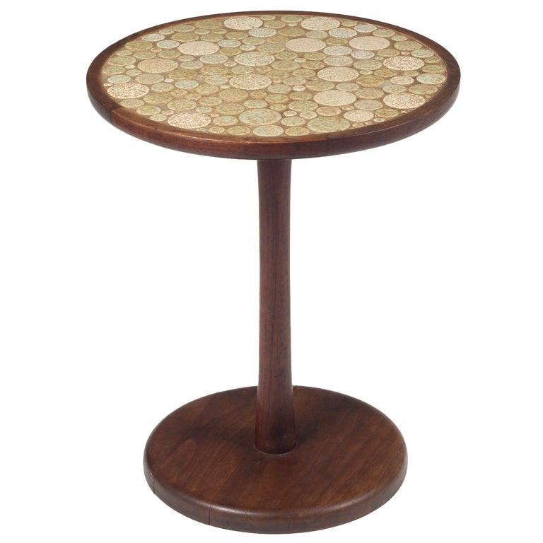 Oatmeal tile top pedestal table by gordon martz for sale at 1stdibs - Ceramic pedestal table base ...