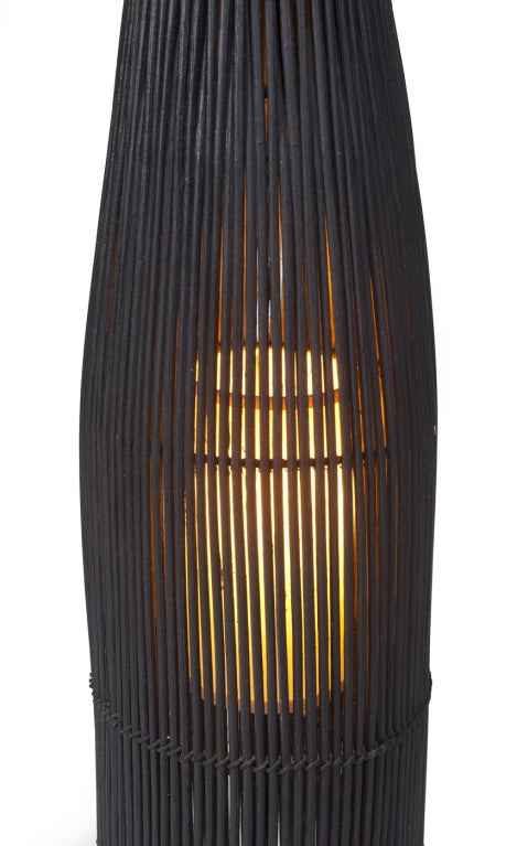 Black Wicker Fish Trap Floor Lamp By Tony Paul For Raymor For Sale At 1stdibs