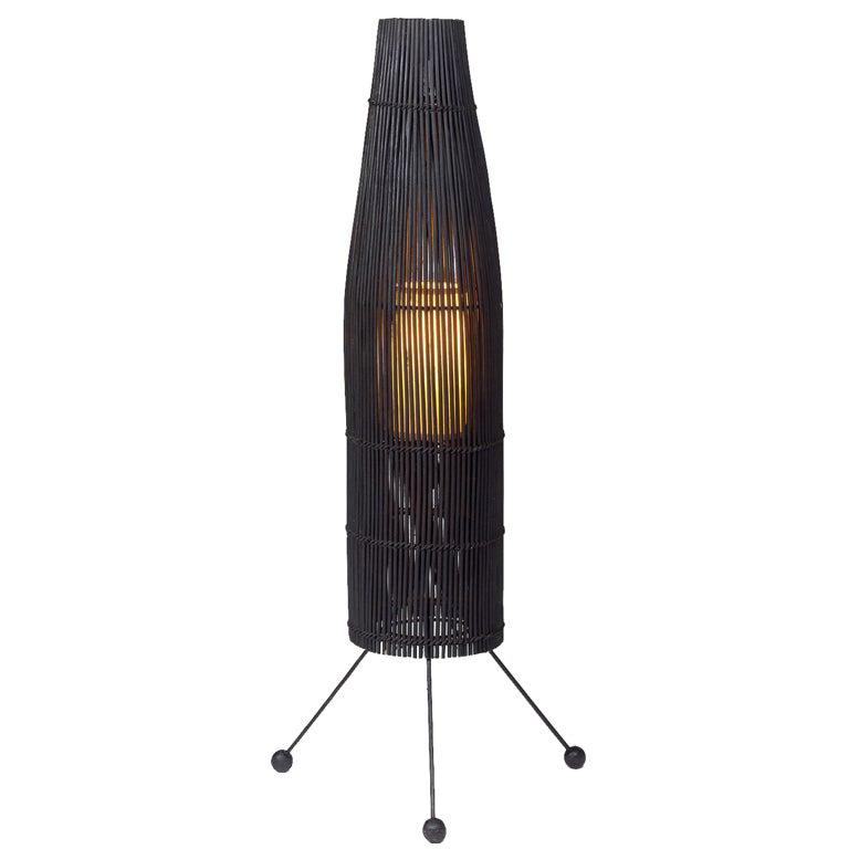 Black Wicker Fish Trap Floor Lamp by Tony Paul for Raymor