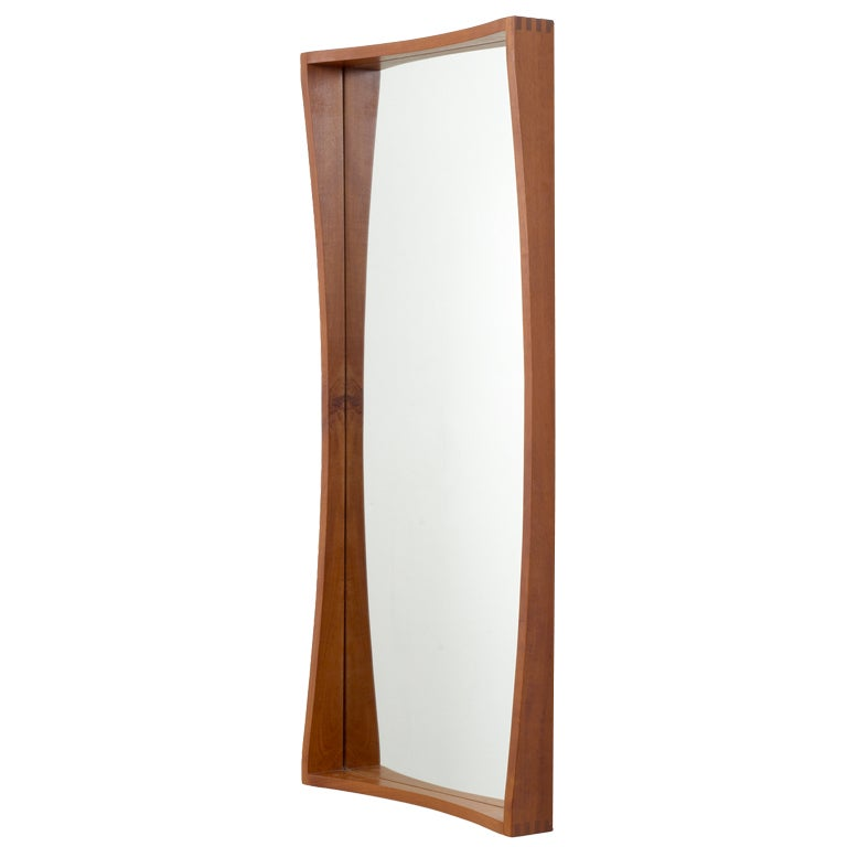 tall and narrow danish teak entry way mirror for sale at