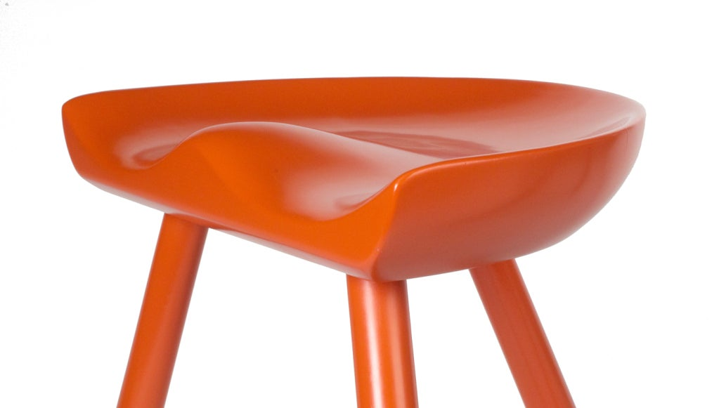 Lacquered Three Legged Milking Stools after Mogens Lassen For Sale