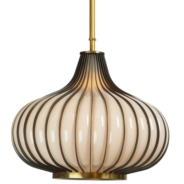 Pair Of Onion Form Glass And Metal Pendant Lights At 1stdibs
