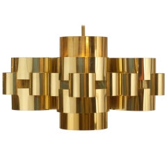 Pair of Polished Brass 'Cloud' Form Chandelier by Curtis Jere