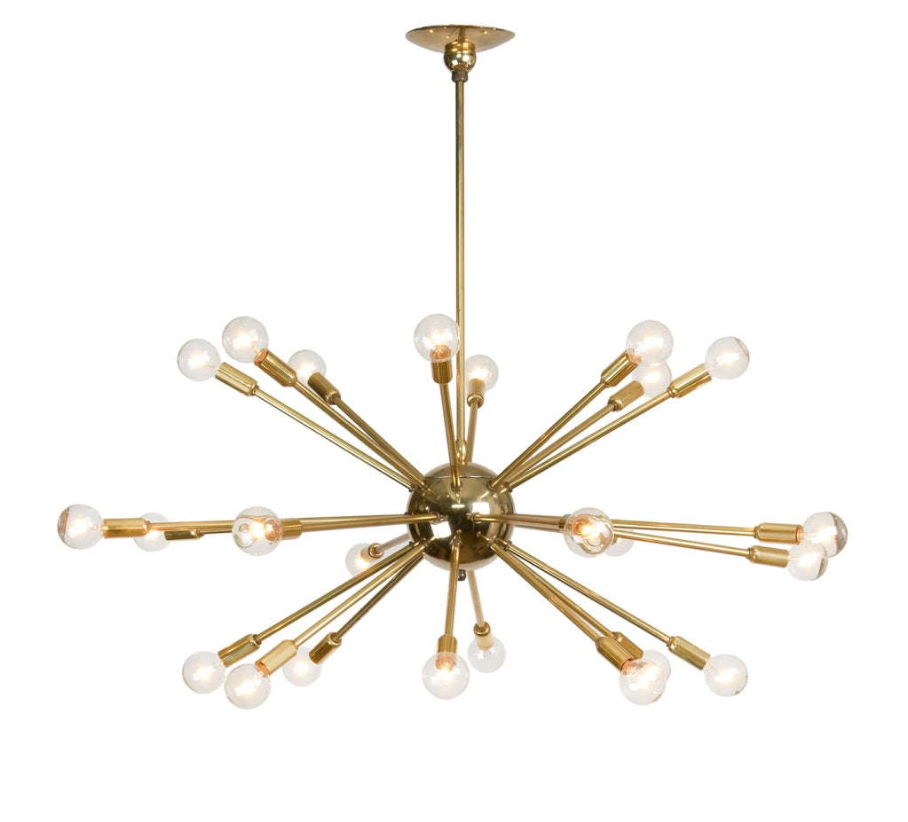 24 arm polished brass sputnik chandelier at 1stdibs