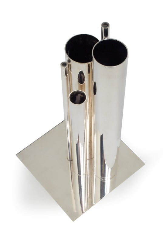 Plated 'Orgue' Graduated Tube Silver Plate Vase by Gio Ponti for Christofle For Sale