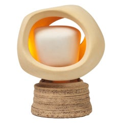 Enigmatic Bisque and Stoneware Table Lamp by Sculplight