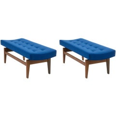 Pair of Four Foot Floating Upholstered Benches by Jens Risom