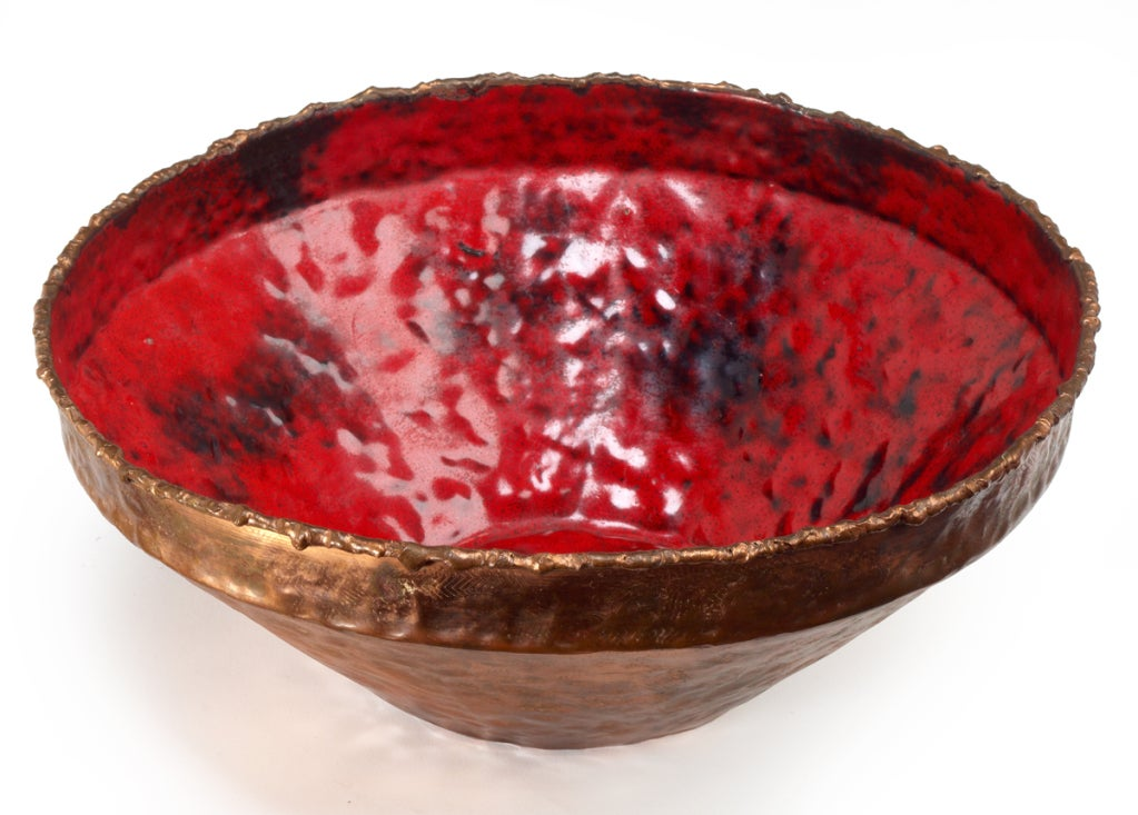 Italian Flaming Red Enamel and Copper Bowl by Marcello Fantoni For Sale