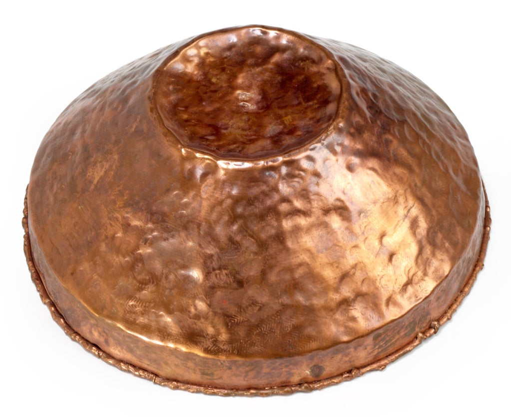 Flaming Red Enamel and Copper Bowl by Marcello Fantoni For Sale 1