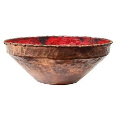 Flaming Red Enamel and Copper Bowl by Marcello Fantoni