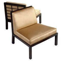 Pair of Lattice Back Slipper Chairs by Michael Taylor for Baker