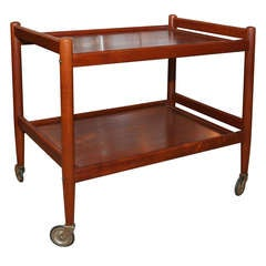 Danish Teak Tea Cart Serving Trolley