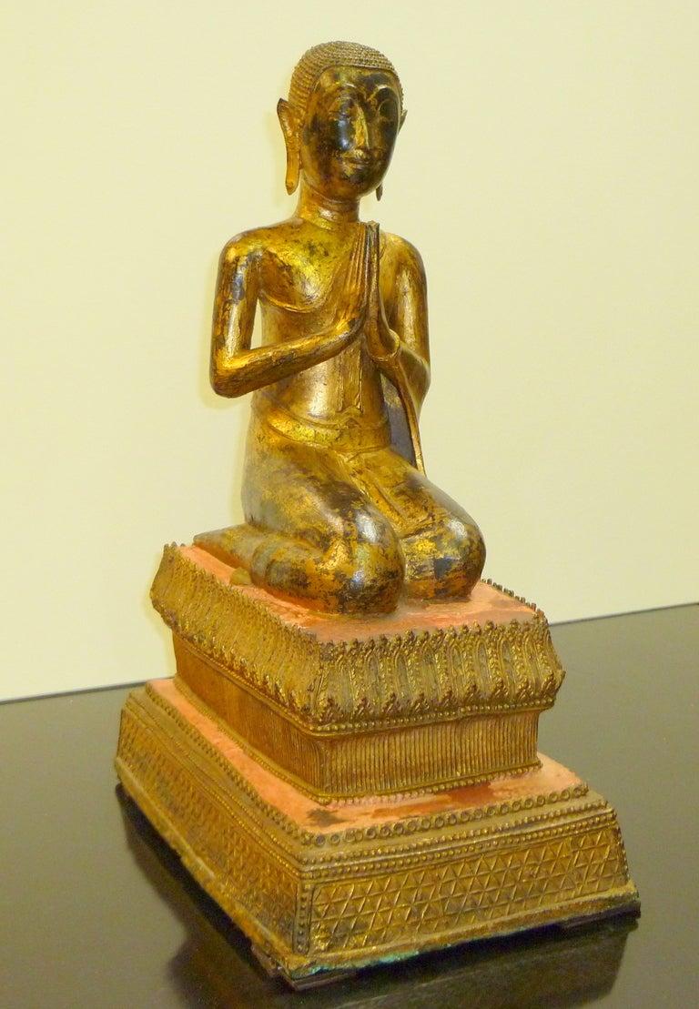 Fine and Unusual Thai Gold Gilt Bronze Kneeling Buddha 2