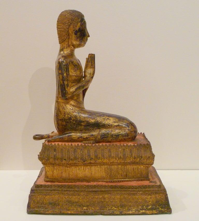 Fine and Unusual Thai Gold Gilt Bronze Kneeling Buddha 4