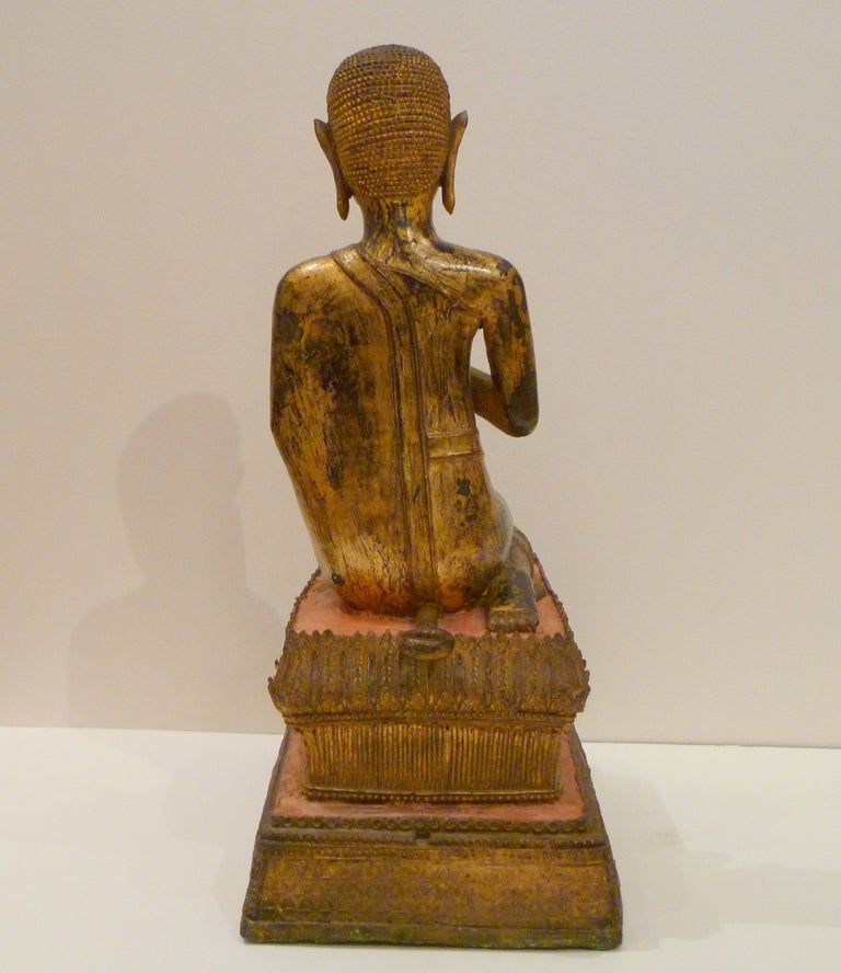 Fine and Unusual Thai Gold Gilt Bronze Kneeling Buddha 6
