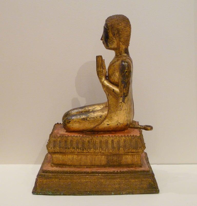 Fine and Unusual Thai Gold Gilt Bronze Kneeling Buddha 5