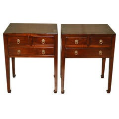 Pair of Fine Ju Mu Wood End Tables with Drawers