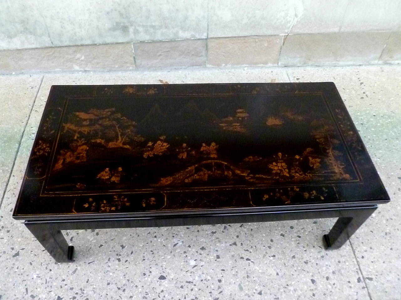 Chinese Fine Black Lacquer Low Table with Gold Gilt Landscape Motif