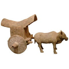 A Fine Tang Dynasty Ox Cart Pottery Statue