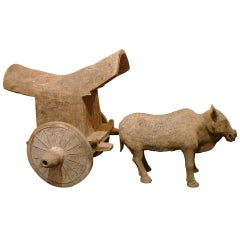 A Fine Tang Dynasty Ox Cart Pottery Statue, TL Tested