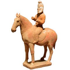 Unusual Tang Dynasty Persian Horse Rider Statue, Silk Road Trader