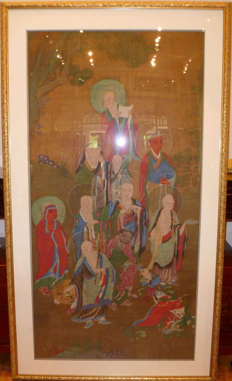 Qing dynasty buddhist painting of lohans at 1stdibs for Dynasty mural works
