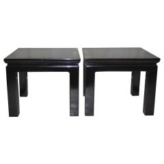 Pair of Black Lacquered Square End Tables