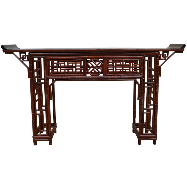 Fine Bamboo Console Table With Black Lacquer Top 1
